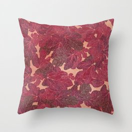 Hand painted rose gold elegant burgundy red foliage Throw Pillow