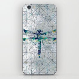 Gemstone Dragonfly on sacred geometry pattern iPhone Skin