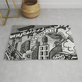 Black and White, Williamsburg Brooklyn Wall Art Rug