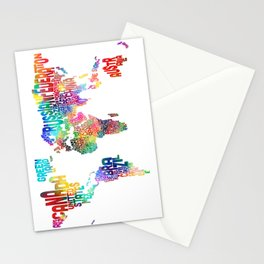 Typography Text Map of the World Stationery Cards