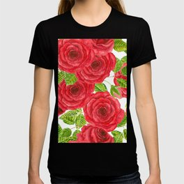Red watercolor roses with leaves and buds pattern T-shirt