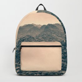 Unreal Dreamlike Hilly Landscape. Nature Photography. Backpack