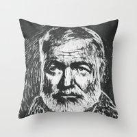 hemingway Throw Pillows featuring Ernest Hemingway portrait by Psychedelic Astronaut