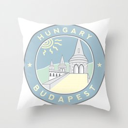 Budapest, Hungary, Fisherman's Bastion, circle blue Throw Pillow