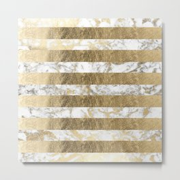 Elegant sophisticated white faux gold marble stripes Metal Print