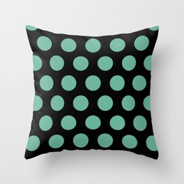 Colorful Mid Century Modern Polka Dots 528 Turquoise and Black Throw Pillow