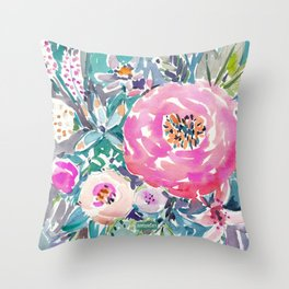 Wild Peony Floral Throw Pillow