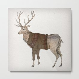 Winter Stag Metal Print