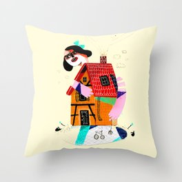 Girl in House Throw Pillow