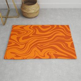 Warped Modern Abstract Liquid Swirl, Fresh Citrus Orange Melt, Bright Lava Color, Melting Tiger Fur Rug