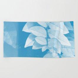 Leaves in Blue Beach Towel