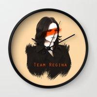 regina mills Wall Clocks featuring Team Regina by Geek World