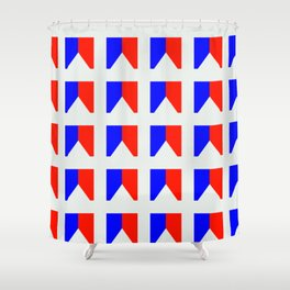 Phillip Gallant Media Design - Red and Blue Shapeson White Shower Curtain