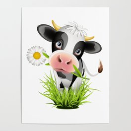 Cute Holstein cow in grass Poster