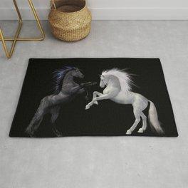 Black White horse Rug