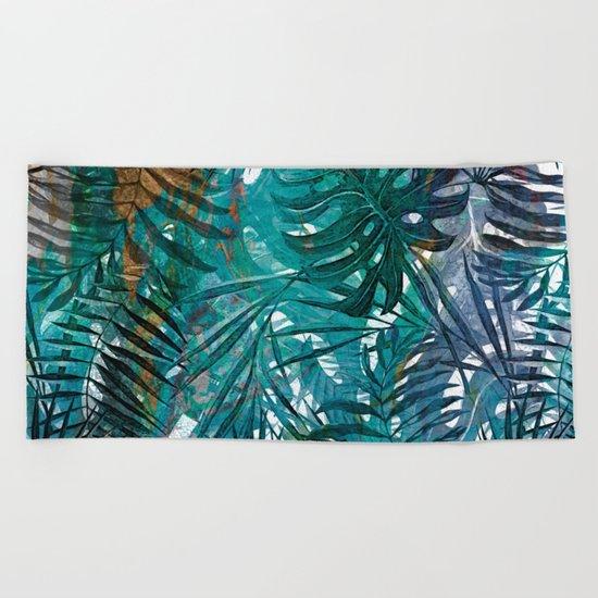 Aloha- Tropical Palm Leaves and Monstera Leaf Garden Beach Towel