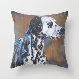 The Dalmatian dog art portrait from an original painting by L.A.Shepard Throw Pillow