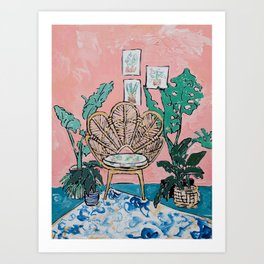 Wicker Shell Chair in Tropical Interior Art Print