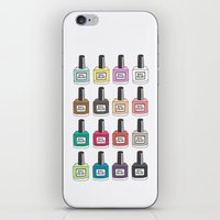 nail polish iPhone & iPod Skins featuring Nail Polish-holic by uzualsunday