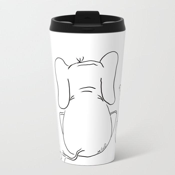 Cat, elephant, and dog friendship trio Metal Travel Mug