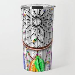 Dreamcatcher Rainbow Feathers Travel Mug