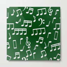 Dancing White Music Notes on Green Background Metal Print