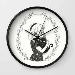 Sabrina the teenage witch and Salem - Girl and her cat Wall Clock