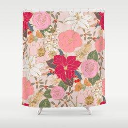 Elegant Golden Strokes Colorful Winter Floral Shower Curtain