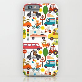 Busy City Zoo Animal Transportation Pattern iPhone Case