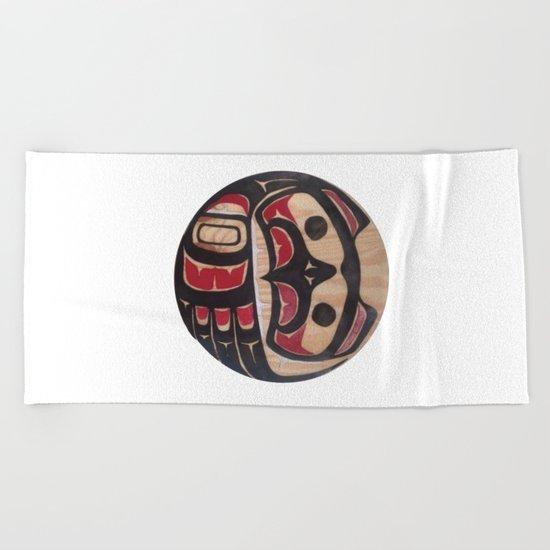 American Native Art Cut In Wood No. 5 Beach Towel