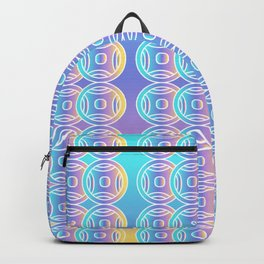 Ancient Chinese Money Stock Geo Pattern Ombre Green Blue Purple Yellow 2 Backpack