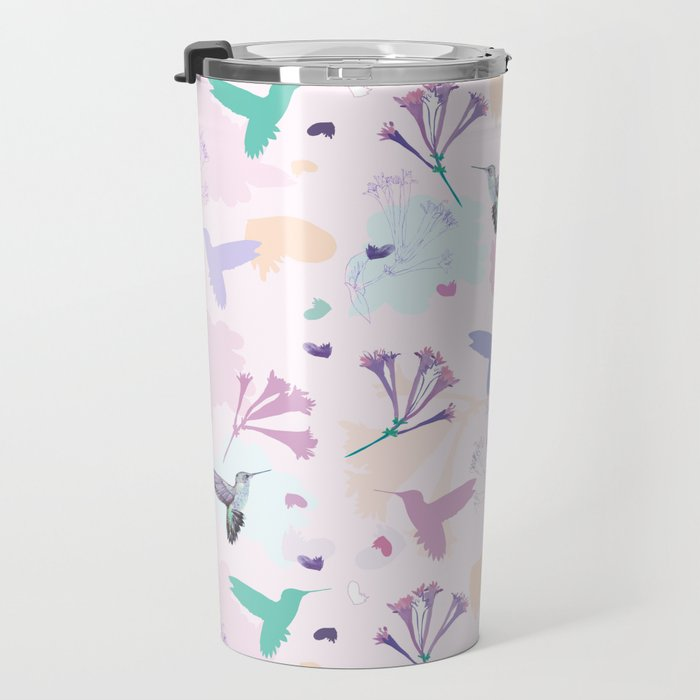 Hummingbird and flower pastel petal pattern Travel Mug