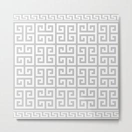 Greek Key (Gray & White Pattern) Metal Print
