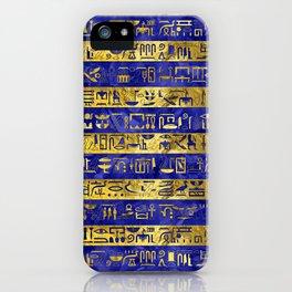 Golden Egyptian  hieroglyphs pattern on  blue iPhone Case