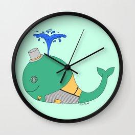 Steampunk Whale (Green) Wall Clock