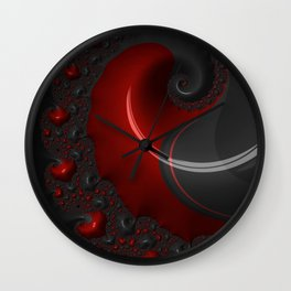 Black Red Goth Gothic Elegant Spiral Decorative Ornate Abstract Fractal Digital Graphic Art Design Wall Clock