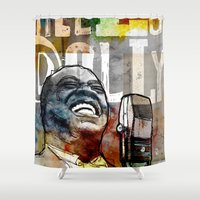 louis armstrong Shower Curtains featuring Louis Armstrong: Hello Dolly! by Ed Pires