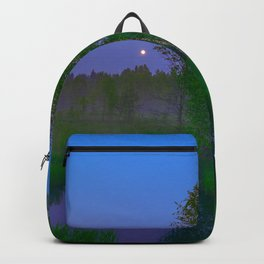 White moon night on the forest river Backpack