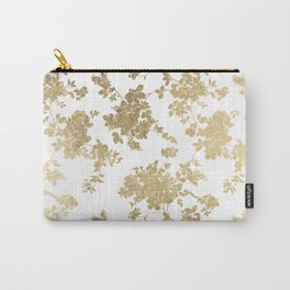 Girly elegant white faux gold vintage floral Carry-All Pouch