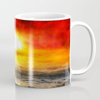 pirate ship Mugs featuring Black Pearl Pirate Ship by Electra