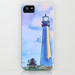 Cape florida lighthouse and Biscayne bay artwork iPhone Case