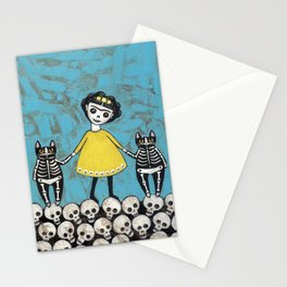 Day of the Dead Cats - Yellow Stationery Cards