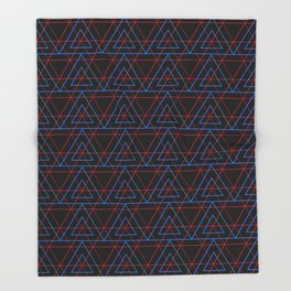 Infrared Neon Triangles Pattern Throw Blanket