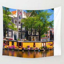 Houseboat in the summer sun Wall Tapestry