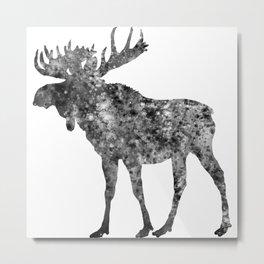 Moose Watercolor Art Metal Print