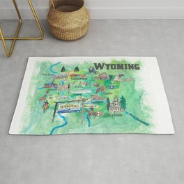 USA Wyoming State Travel Poster Illustrated Art Map Rug