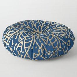 Modern chic navy blue faux gold floral mandala Floor Pillow