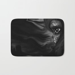 Black and white Skully Bath Mat