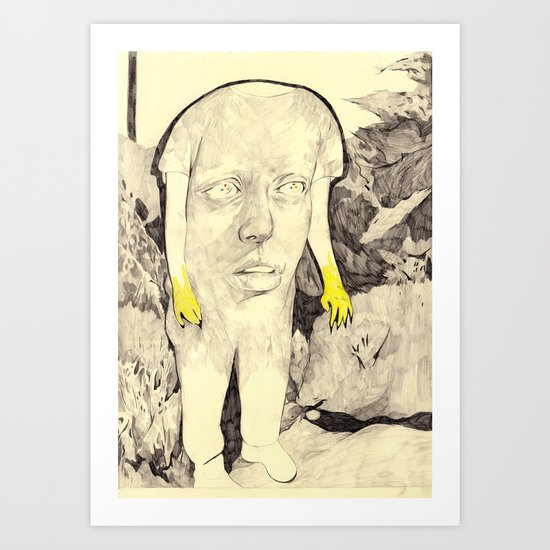 figure in a forest Art Print