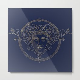 medusa / gold minimal line logo on navy background Metal Print